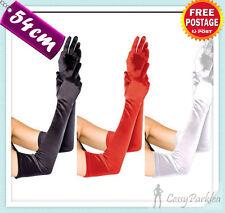 Satin Opera Length Gloves Black White Red Gold Silver Fancy Dress Gloves 54CM