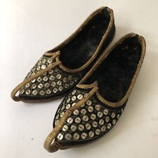 Vintage Aladdin Genie Childs Leather Curl Toe Shoes Sequins Decor Boho Decor