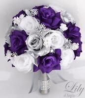 17 Piece Package Silk Flower Wedding Bridal Bouquets Sets PURPLE SILVER WHITE