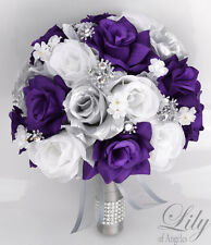 17 Piece Package Silk Flower Wedding Bridal Bouquets Sets PURPLE SILVER WHITE