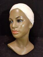 Marwal Chalkware Bust Head African American Lady Headwrap Turban Vintage 1960s
