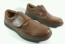 Freestep mens brown leather velcro fastening casual shoes uk 8 eu 42