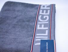 Tommy Hilfiger Bath Towel In Grey Cotton Designer Logo Branded New With Tags