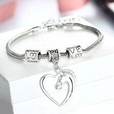 Family Xmas Heart Horse Head Pendant Charm Chain Bracelet Jewelry Bangle Gift