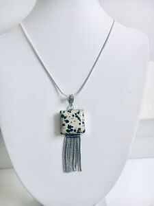 Dalmatian Jasper Pendant 76.2mm with 925 Silver Plated Necklace 55.8cm Gemstone