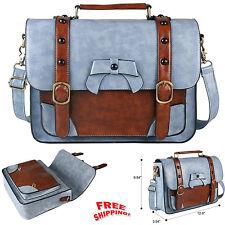 NEW Vintage Leather Messenger Bag Women Crossbody Satchel Bag Briefcase Blue