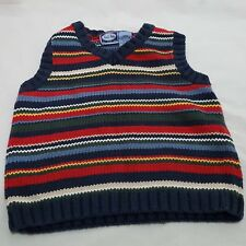 Sweater Vest Striped Pull On Knit Size 3 3T 36 Months Christmas Red Blue Green