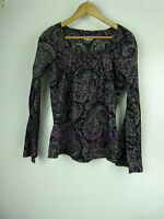 ESPRIT Top/blouse Sz 6 Black, purple, brown print