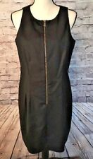 MICHAEL KORS Front Zipper Sleeveless Lined Sheath Dress - Black - Size 12