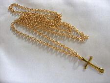 Color Oro Piccolo Ciondolo Croce con 76.2cm Lunghi Dorati catenina collana
