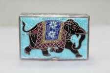 Indian Enamel Work, 925 Sterling Silver Trinket Box, Wild Animal Elephant Figure