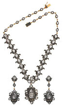Estate Repro Antique Rose Cut Diamond 10.52ct Sterling Silver Polki Necklace Set