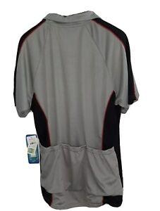 PT Sportswear Streamline Cycling Jersey Shirt Silver Zip CoolPass Sz M 3Pockets