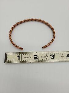 Heavy Solid Copper Cuff Bracelet Handmade Flat Weave
