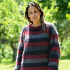 New Sexy Hand Knitted ANGORA Sweater Fuzzy Red Black Gray CrewNeck EXTRAVAGANTZA