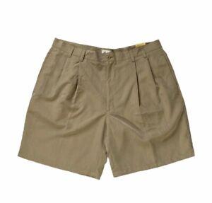 Arnold Palmer Mens Golf Shorts Size 38 Beige Glen Plaid Pleated Pockets New