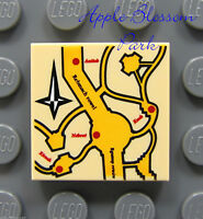 NEW Lego Harry Potter 2x2 Tan Decorated FLAT TILE Marauder's Map -4842 4751 3862