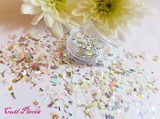 NAIL ART WHITE SILVER MIRROR Shimmer * * Shard MYLER Flake MIX POT Spangle Glitter