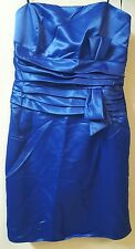 PacificPlex Blue Taffeta Short Cocktail Dress Size 2X Bridesmaid Strapless Bow