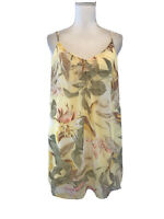 WHBM Size 4 Floral Sheath Shift Dress Spaghetti Straps Lined Chiffon Yellow