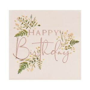 """Tea Party, Floral, Pink & Rose Gold """"Happy Birthday"""", Paper Napkins x16"""
