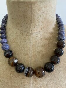 Antique Victorian Banded Agate Bead Necklace Silver Clasp