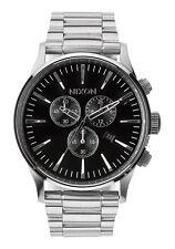 New Authentic Nixon Sentry Chrono Silver Black Men's Watch A386000 A386-000