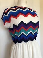 Vintage 1980s Medium Zig Zag Geometric Party Dynasty Sheer Costume Mini Dress
