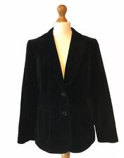 Vintage Black Velvet Blazer Jacket 14 Fitted Arty Boho Czarina Made In UK Spring