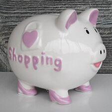 Sparschwein m. Pumps Shopping Spardose Geldgeschenk Hochzeit Gutschein rosa pink