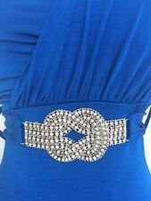 Ladies Blue Maxi Long One Shoulder Dress Size 8 Stretchy Jane Norman Prom Dress