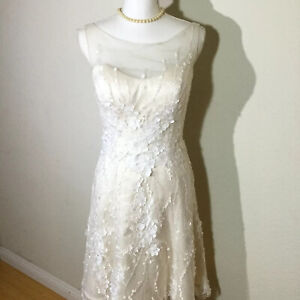 Casablanca Size 6 Sleeveless Illusion Neckline Short Wedding Dress In Champagne