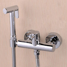 Toilet Brass Handheld Bidet Spray Shattaf Kit Sprayer Jet + Hot&Cold Mixer Valve