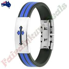 Medieval Cross 316L Stainless Steel ID Plate 2-Tone Maze Rubber Straps Bracelet