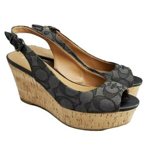 Coach Ferry Monogram Slingback Peep Toe Wedges Black Gray Women's US 6
