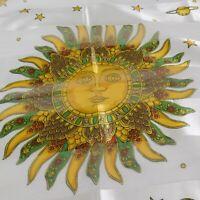 R L Collection Artificial Silk Scarf Zodiac Sun Stars White Gold Green Red 40x40