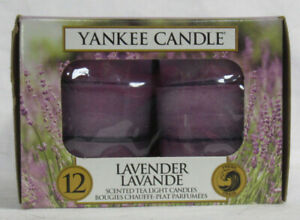Yankee Candle 12 Scented Tea Light T/L Box Candles LAVENDER fresh 4-6 hrs purple