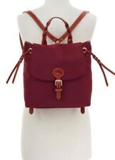 Dooney & Bourke Flap Backpack Mulberry Nylon W/Brown Leather Trim  NWT