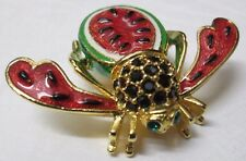 Joan Rivers Watermelon Bee Pin Brooch Classics Collection with Original Box
