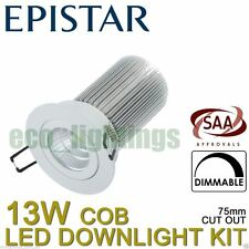 10 X EPISTAR 13W Led Dimmable Downlight Complete Kit Ceiling Bulb COB Warm White