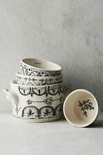 """NEW ANTHROPOLOGIE MEASURING CUPS """"LINA"""" SET OF 4~INTRICATE BLK ON WHT STONEWARE"""