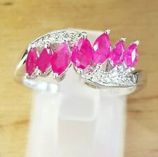 Natural 0.93ct Ruby White Topaz Solid 925 Sterling Silver Ring Wedding Cocktail