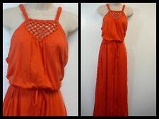 $139 Lauren Ralph Lauren Orange Macramé Razer Back Cotton Maxi Dress ~ L M3020