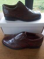 Pair Youths Boys Shoes BREVITT Size 7 Mens Wide Fit Formal Brown Leather Brogues