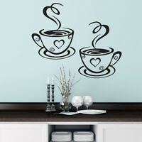 Hot Design Coffee Cups Cafe Tea Wall Stickers Art Vinyl Decal Kitchen Pub Decor