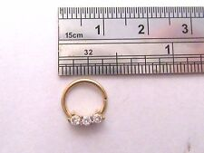 Gold Titanium Triple Clear CZ Crystal Cartilage Daith Seamless Hoop 18 gauge 18g