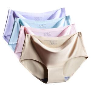 Ladie Teens Seamless Underwear Panties Ice Silk Low Cut Briefs Knickers
