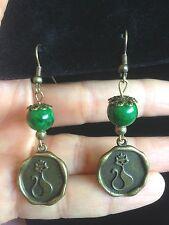 Earrings Vintage Style  Jade Bronze Cat Hippie Boho Bohemian A1070