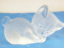 """Vintage Viking Glass Clear Frosted Kitten Kitty Cat Paperweight Figurine 6.5"""""""