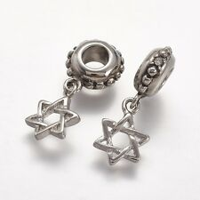 Silver Star of David European Dangle Charm Beads Fit Charms Bracelets DIY Design